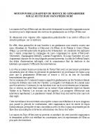 MOTION POUR LE MAINTIEN DU SERVICE DE GENDARMERIE