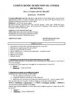 COMPTE RENDU DE REUNION DU CONSEIL MUNICIPAL du 20 Août 2021